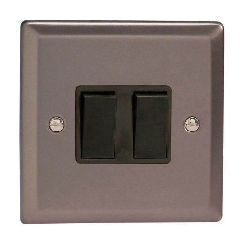 Varilight XR2B Classic Pewter 2 Gang 10A 1 or 2 Way Rocker Light Switch